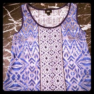 Massimo Blue & White pattern Tank Top